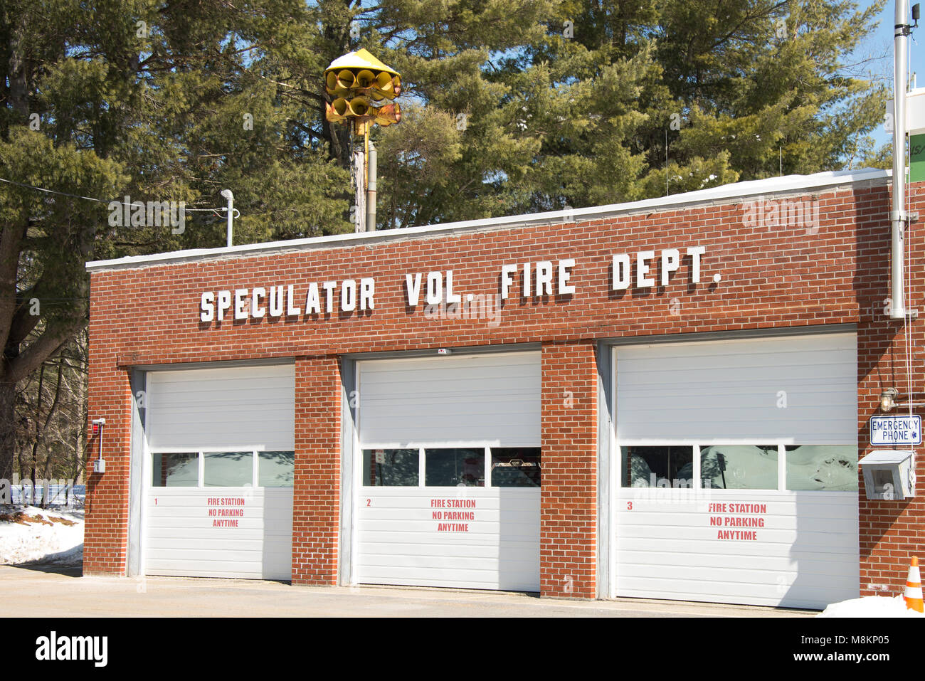 Speculator Volunteer Fire Department building in Speculator, NY New York USA - Stock Image