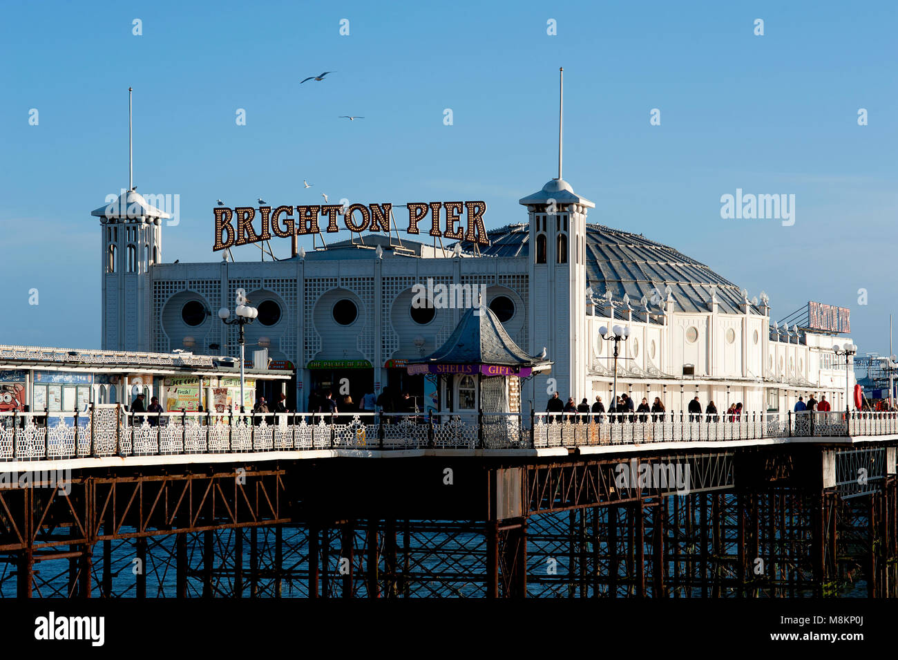 Brighton Pier, Brighton and Hove, UK, 2018.The Brighton Pier, also called the Palace Pier, is one of the most popular - Stock Image