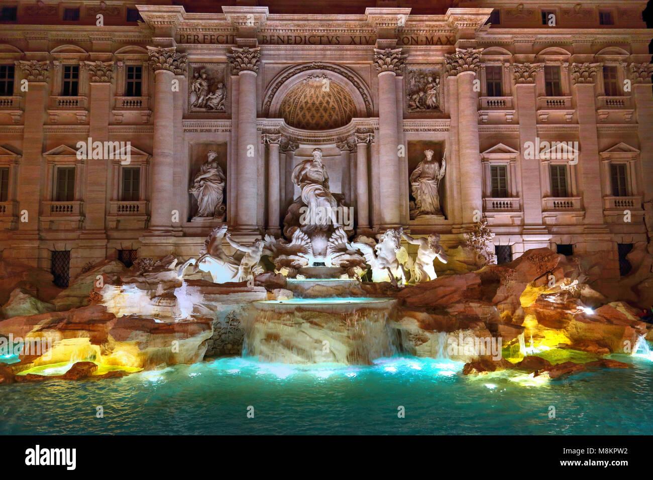Rome, Famous Trevi Fountain (Fontana Di Trevi) - Stock Image