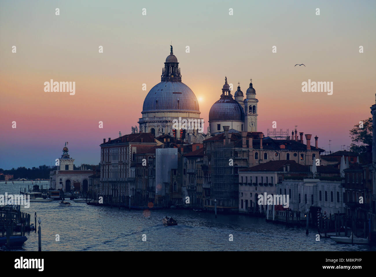 Santa Maria della Salute Cathedral - view from Academia bridge Stock Photo