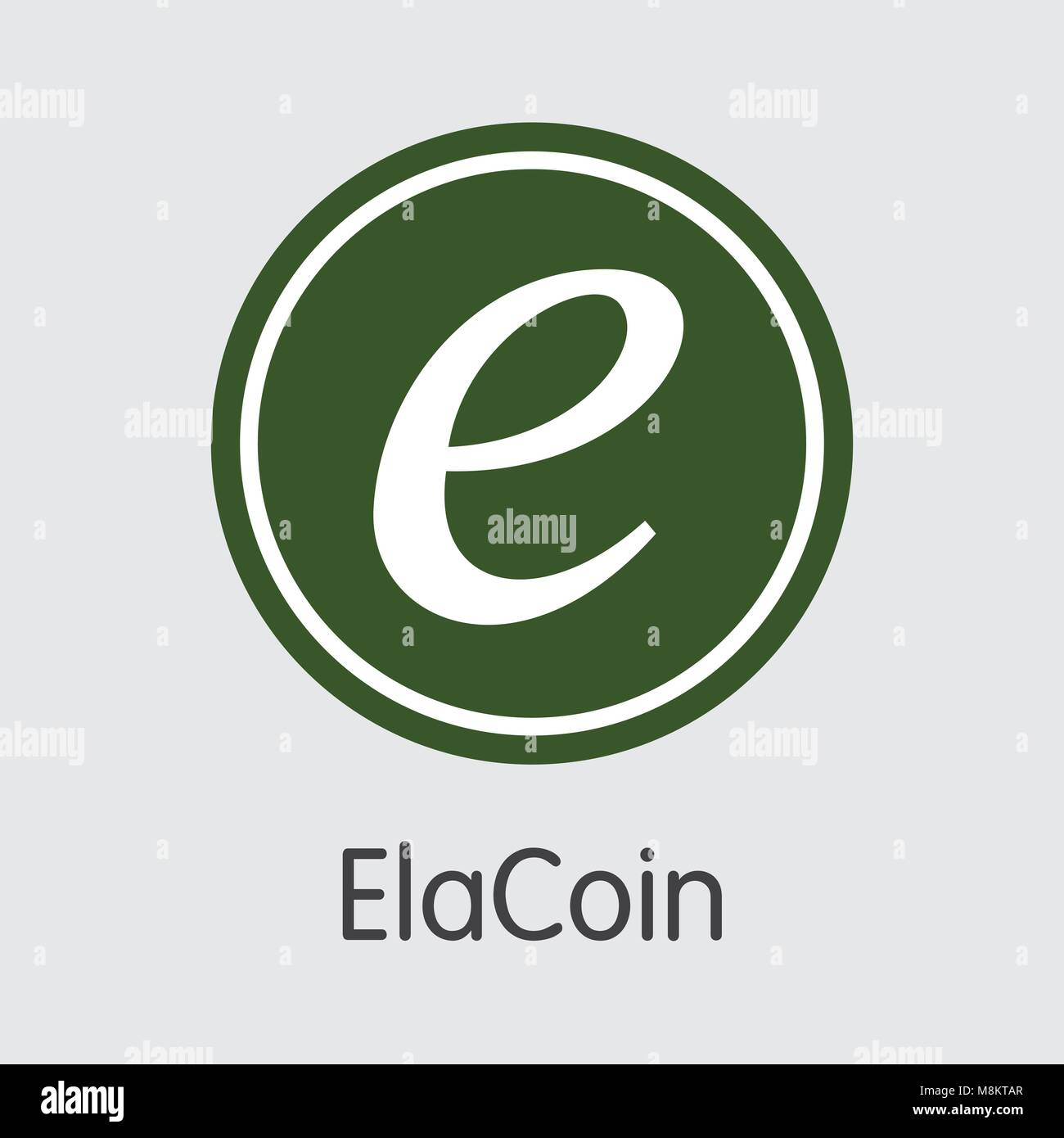 Elacoin Cryptographic Currency. Vector ELC Coin Pictogram. - Stock Vector