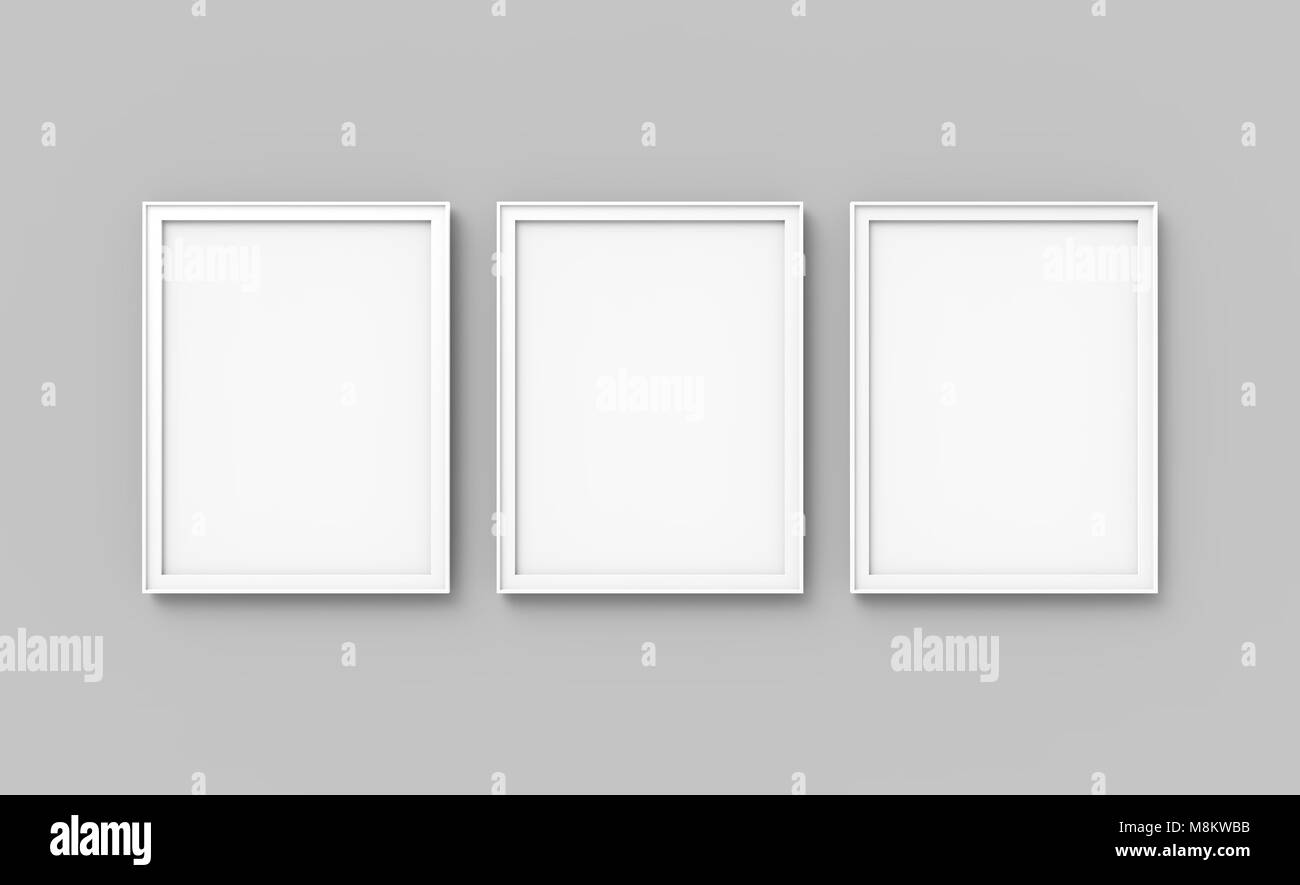Blank picture frame mockup, 3d render frames set on wall with empty ...