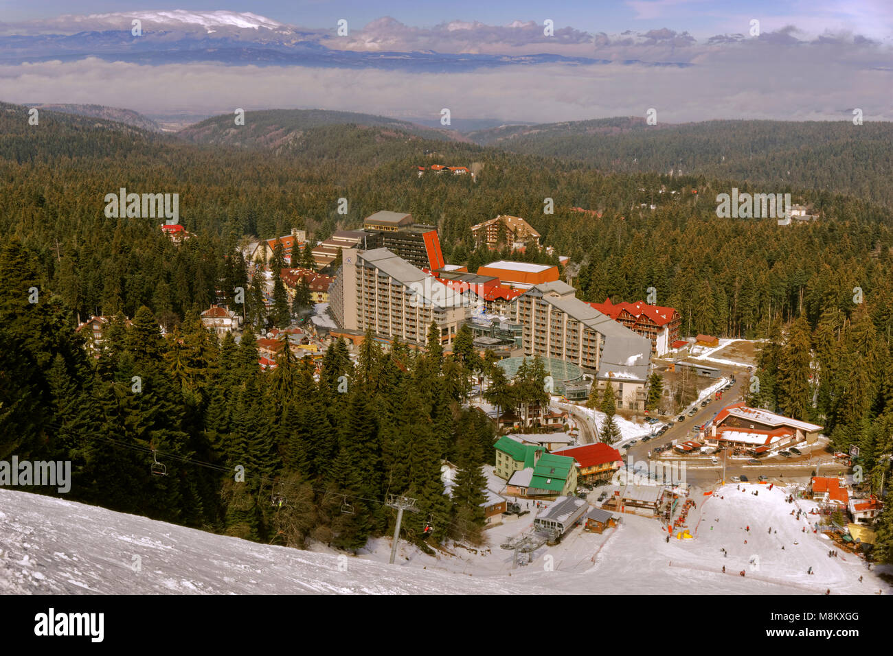 Borovets ski resort with the Rila Hotel near Samokow, Targovishte, Bulgaria. - Stock Image