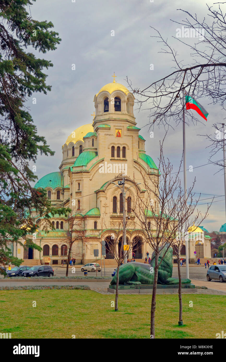 St. Alexandar Nevski Orthodox Cathedral in Sofia city centre, Bulgaria. - Stock Image