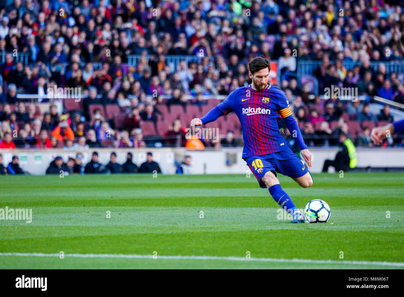 March 18, 2018 - Barcelona, Barcelona, Spain -   (10) Messi during the La Liga match between FC Barcelona and Ath. - Stock Image