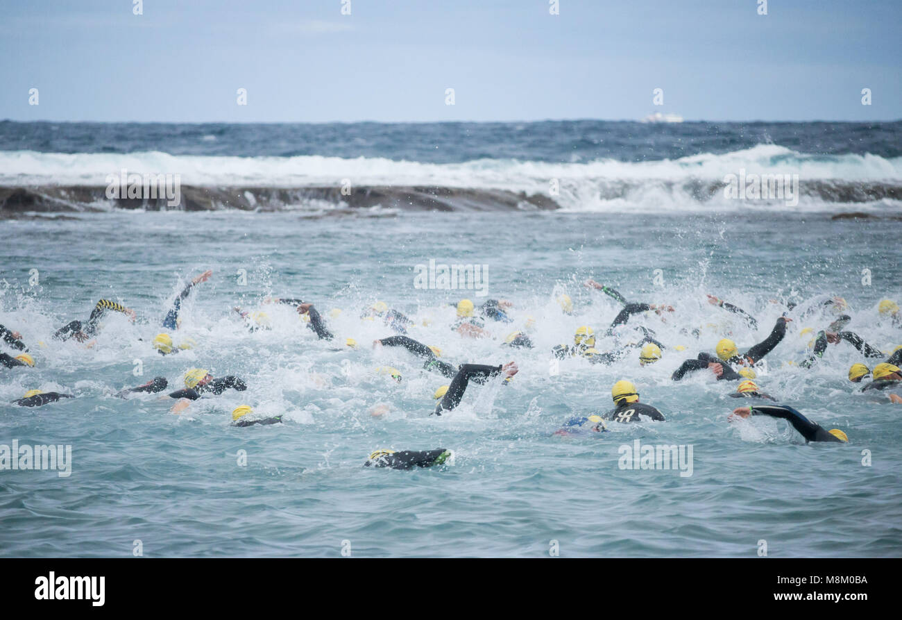 Las Palmas, Gran Canaria, Canary Islands, Spain. 18th March, 2018. Start of the men`s sprint swim at the ETU European - Stock Image