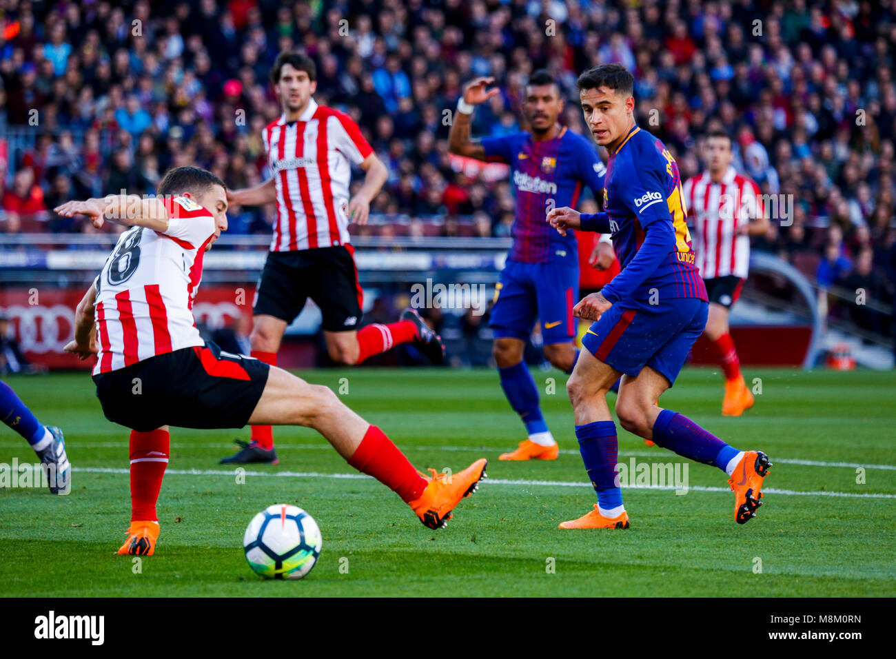 March 18, 2018 - Barcelona, Barcelona, Spain -   (14) Coutinho and (18)De Marcos in the area of Ath. Bilbao during - Stock Image