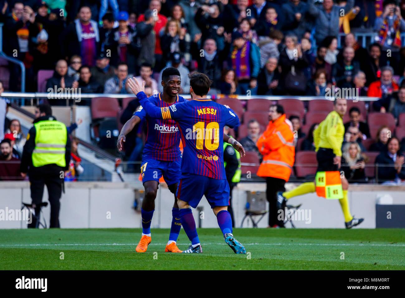 March 18, 2018 - Barcelona, Barcelona, Spain -   (11) Dembélé and (10) Messi celebrate the second goal - Stock Image
