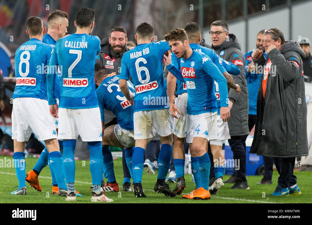 The team of SSC Napoli celebrates after scoring during the Serie A football  match between SSC Napoli and Genoa CFC at San Paolo Stadium. 8bc68a388b64a
