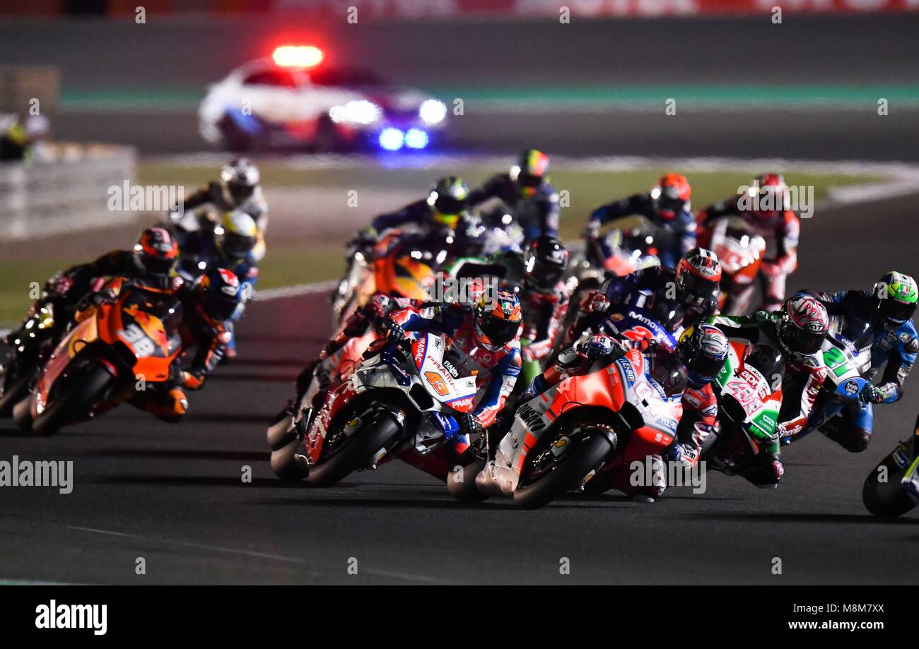 Doha Qatar 18th Mar 2018 Riders Compete In The 2018 Motogp Grand