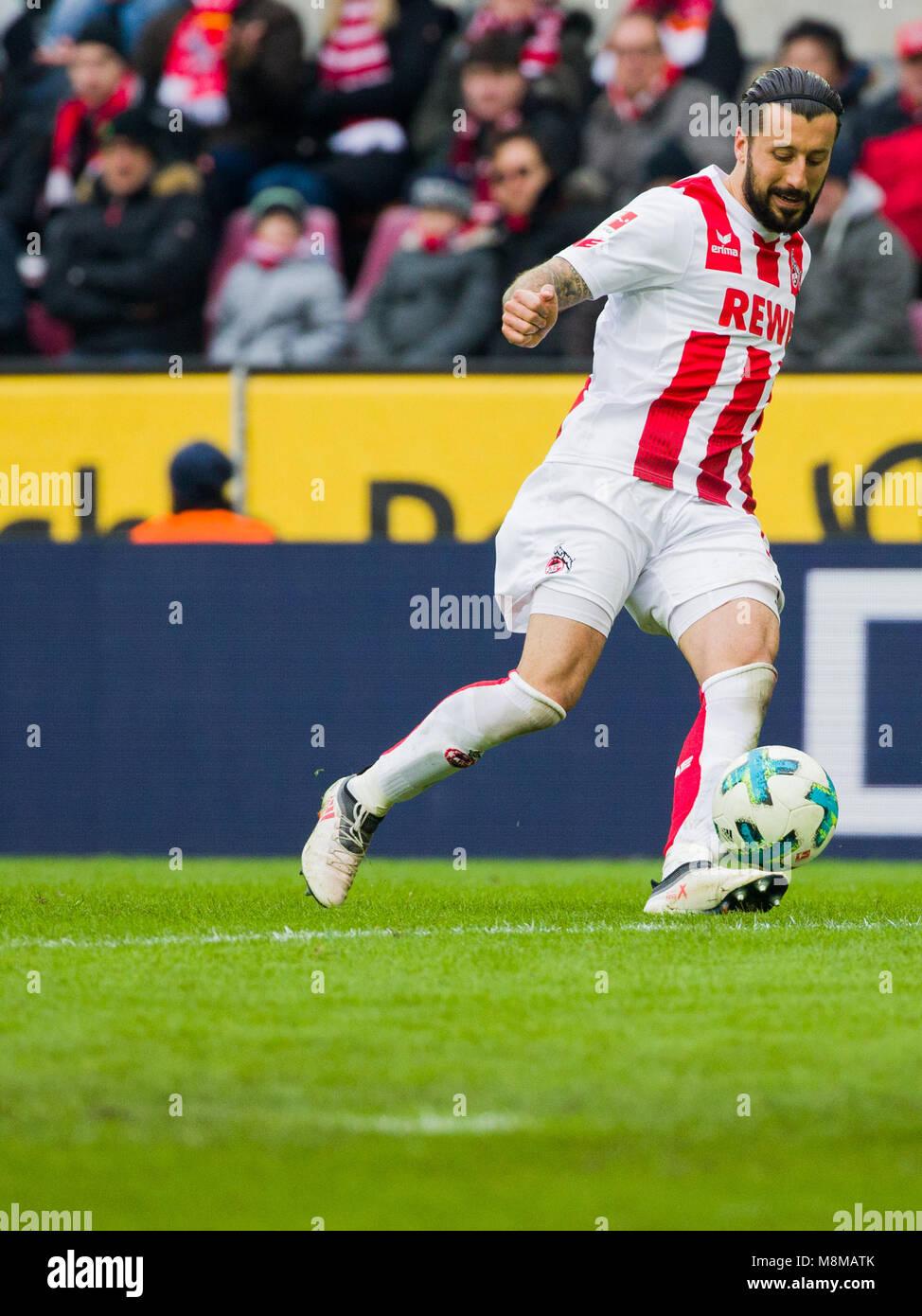 18 March 2018, Germany, Cologne: Soccer, 1. Bundesliga, 1. FC Cologne vs Bayer Leverkusen at the RheinEnergieStadion. - Stock Image