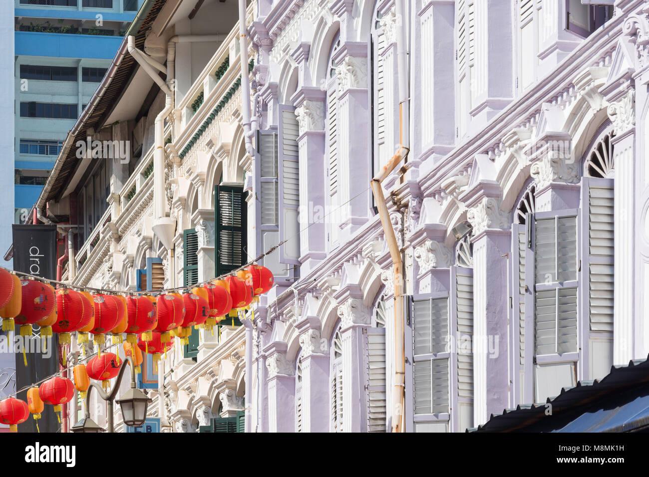 Shophouses, Pagoda Street, Chinatown, Outram District, Central Area, Singapore Island (Pulau Ujong), Singapore - Stock Image