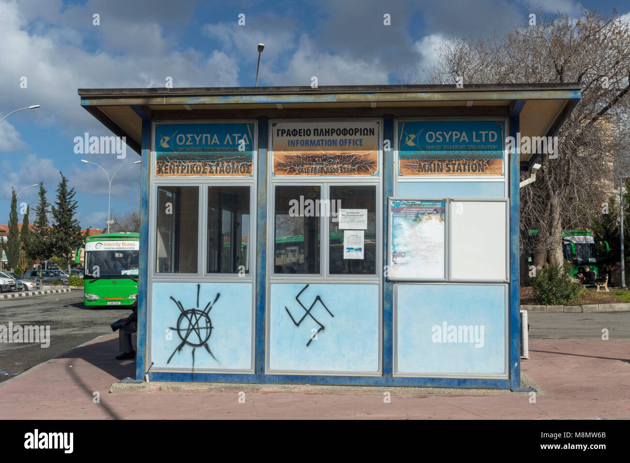 Nazi insignia on the side of the Karavella bus station, Paphos, Cyprus, Mediterranean - Stock Image