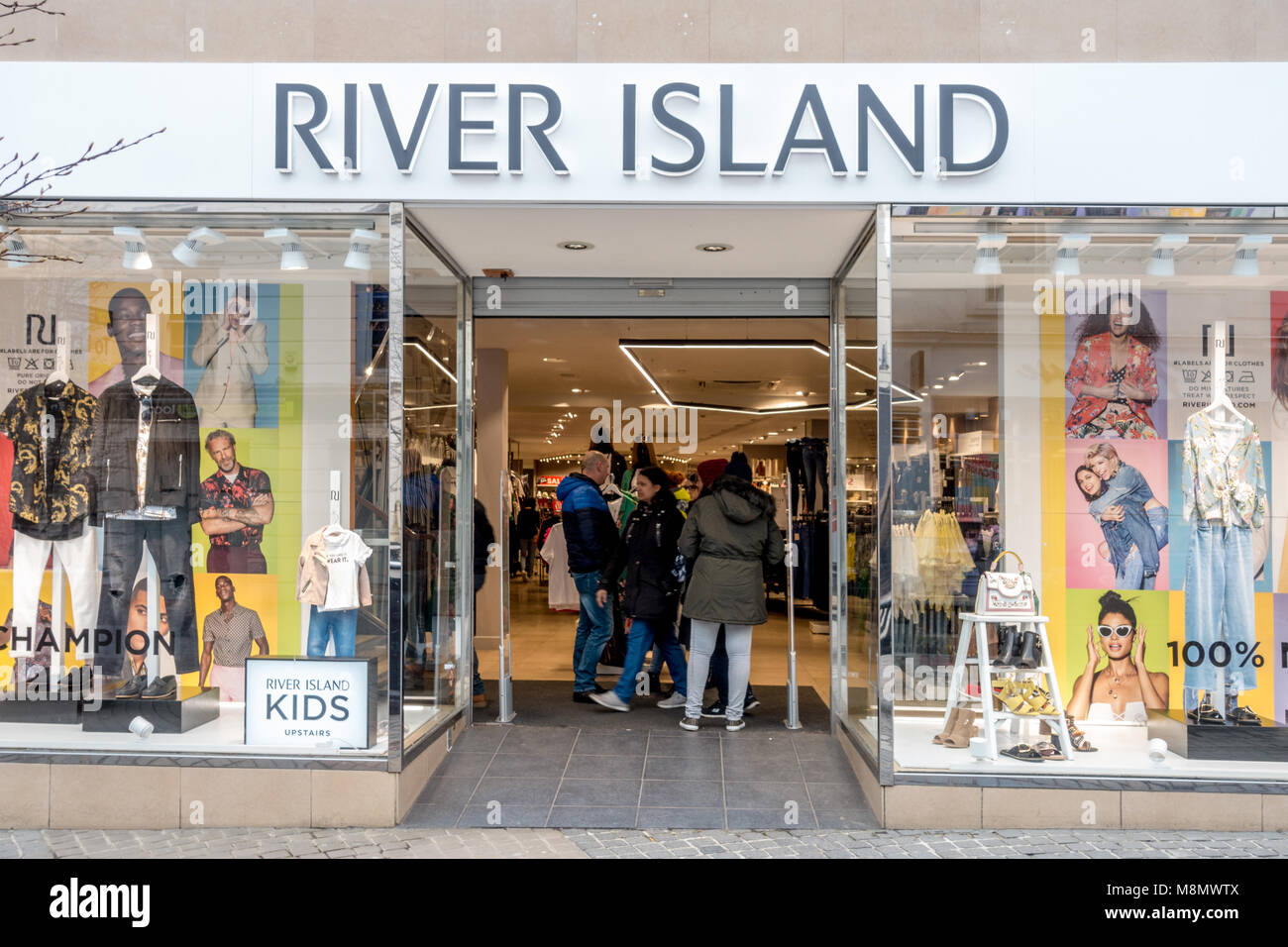 c7064e808 The River Island clothes shop on Peascod Street in Windsor, UK. river Island  is a chain store with shops around the country.