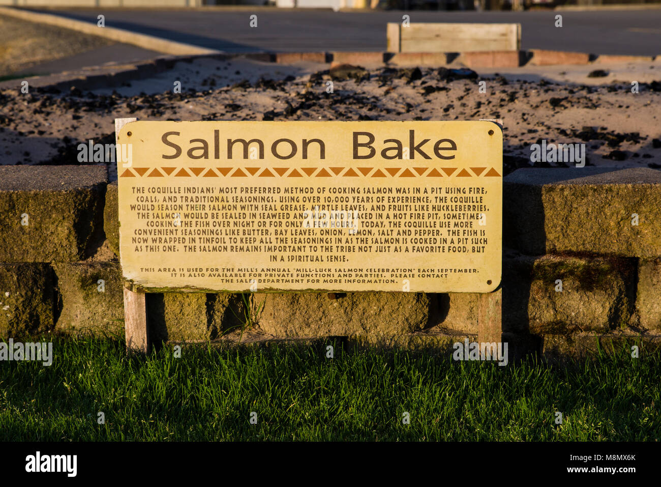 Salmon Bake pit at The Mill Casino and RV Park in North Bend, Oregon