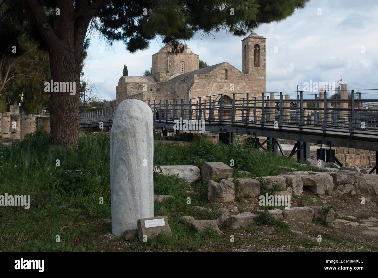 St Pauls pillar and church in the tourist area of Paphos, Cyprus Mediterranean - Stock Image