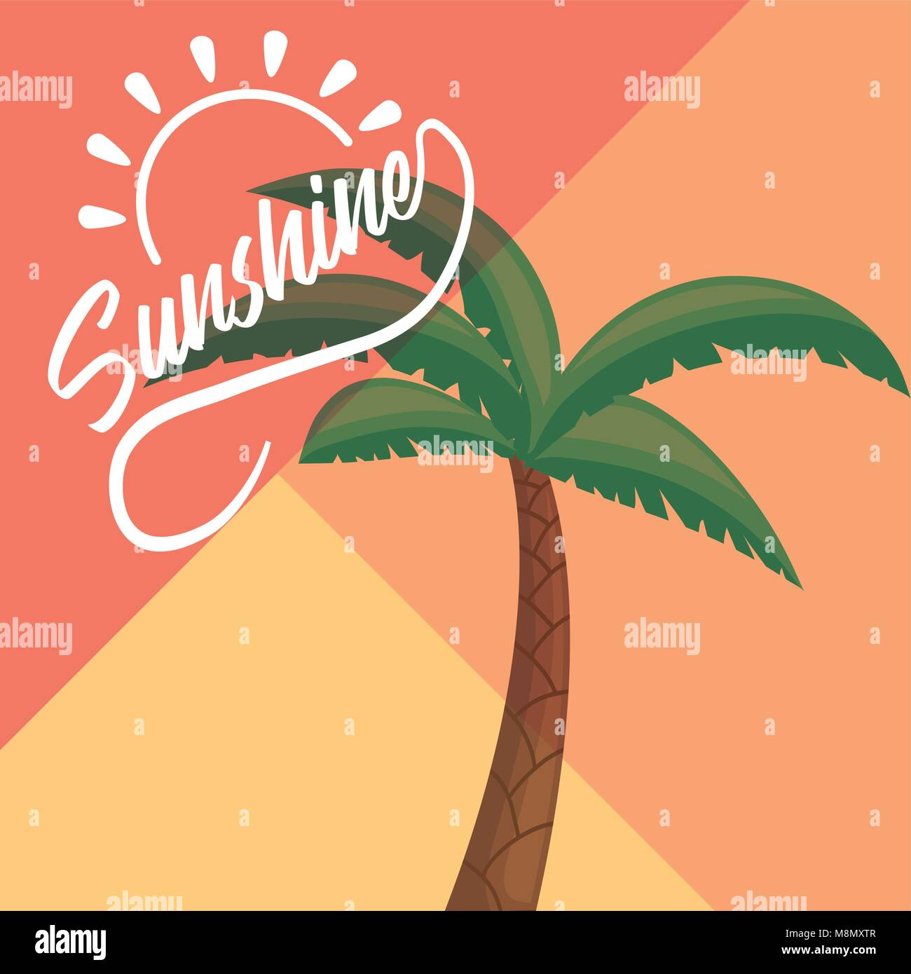 Sunshine design with tropical palm over colorful background vector illustration - Stock Vector