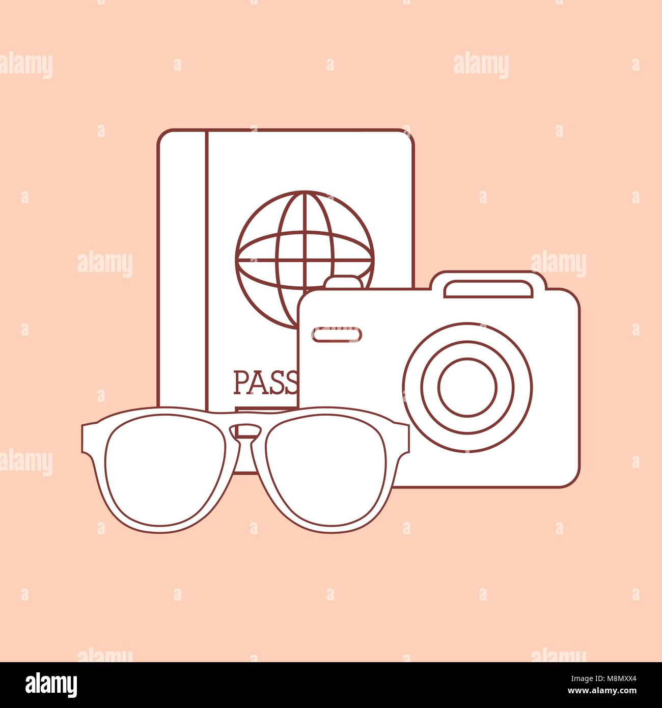 passport with camera and sunglasses over orange background, colorful design vector illustration - Stock Vector