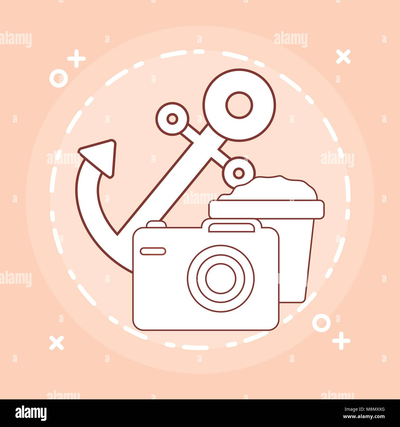 anchor and camera over orange background, colorful design vector illustration - Stock Vector
