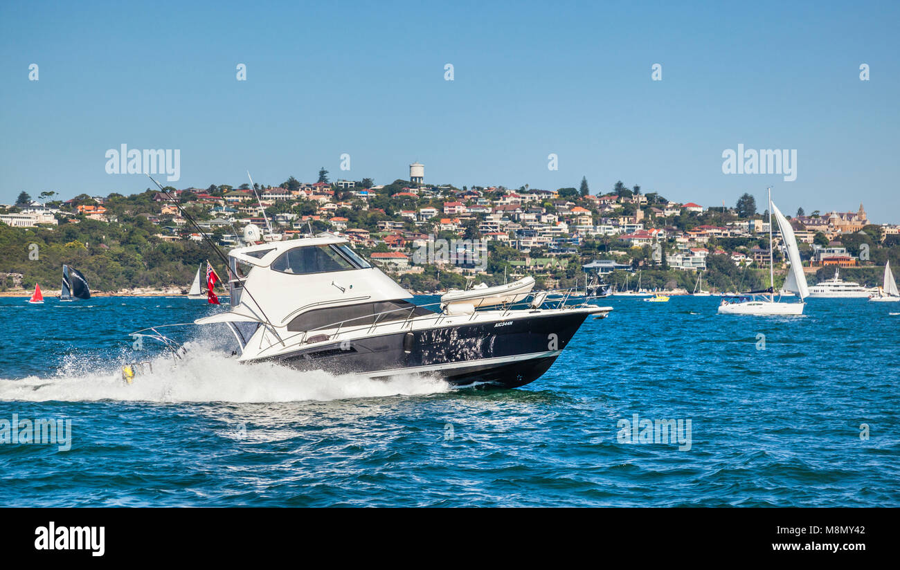 power cruiser speeding through Sydney Harbour against the backdrop of the harbourside suburb of Vaucluse, New South - Stock Image