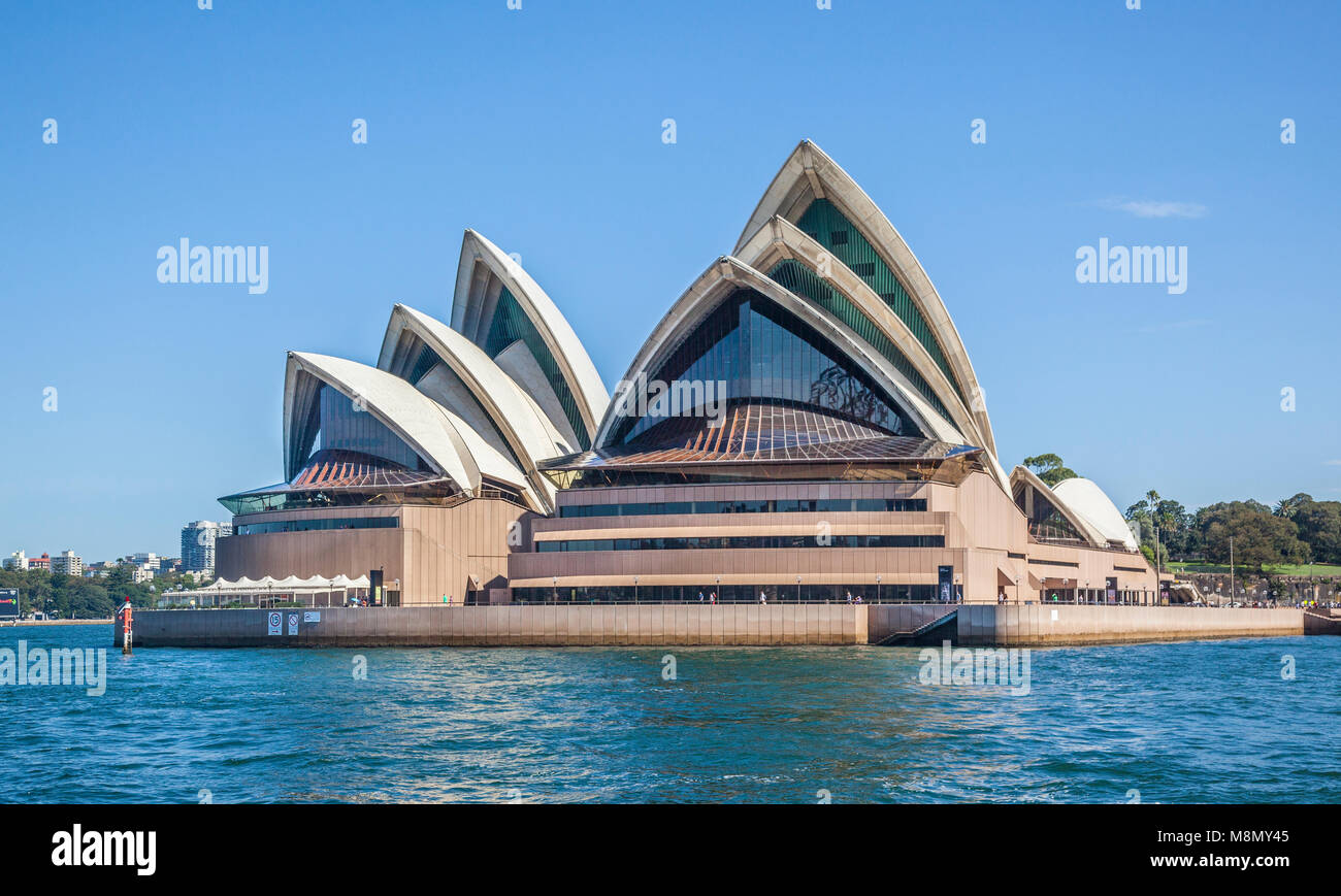 harbourside view of the Sydney Opera House at Bennelong Point, Sydney, New South Wales, Australia - Stock Image