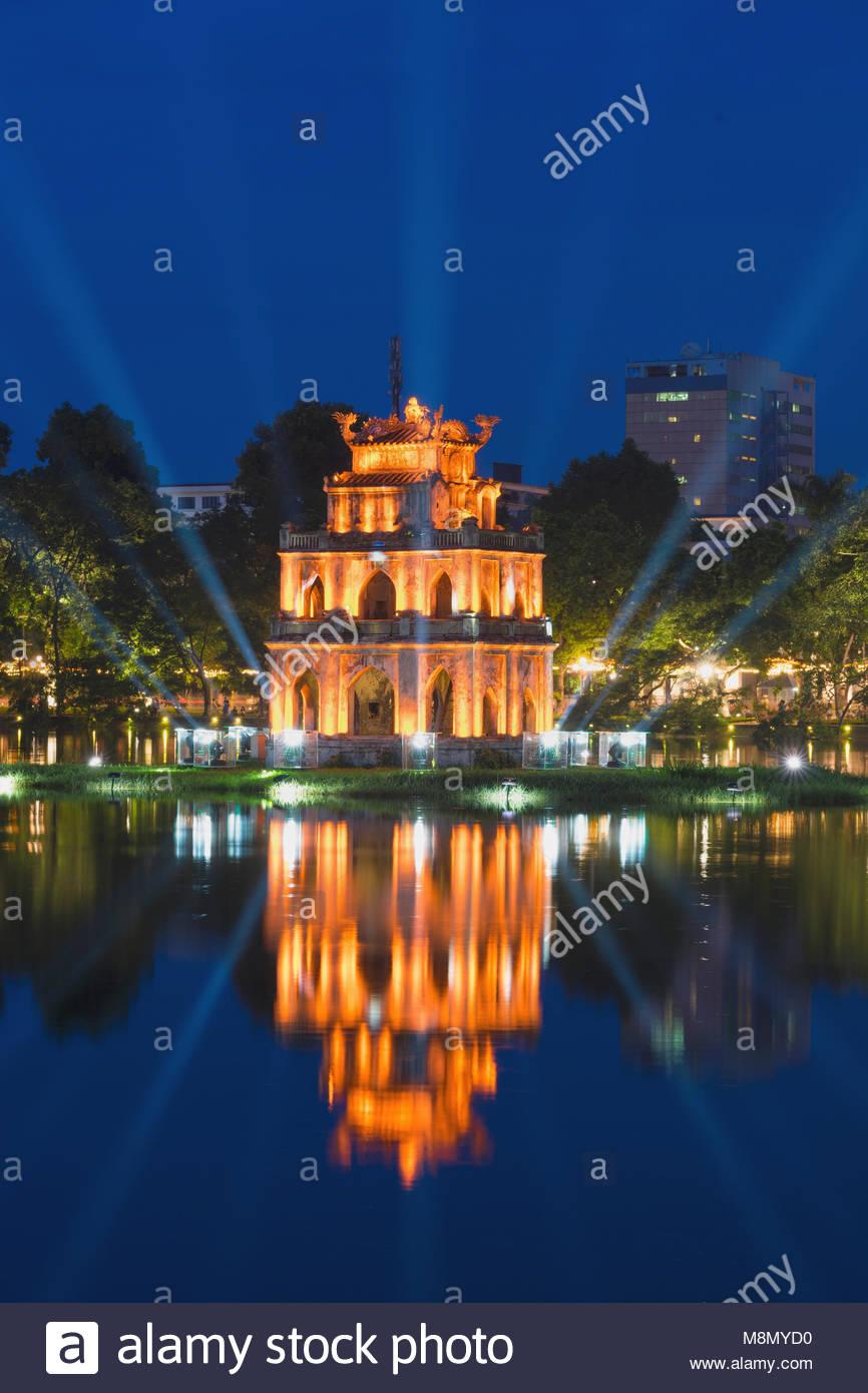 Turtle Tower The Symbol Of Vietnam At Twilight Period At Hoan Kiem