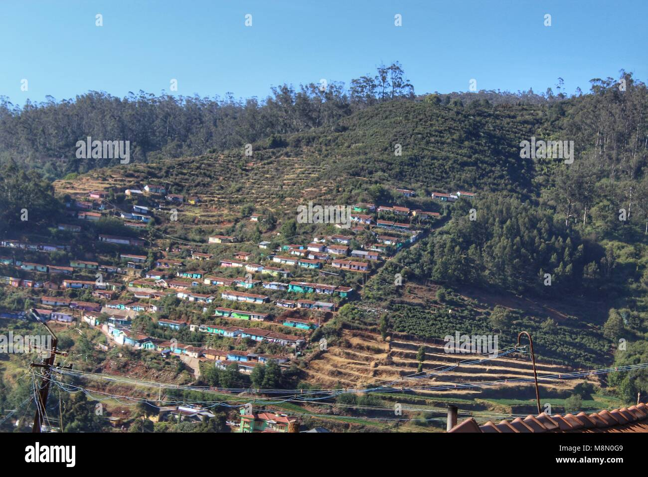 mountain range , Ooty, human settlement - Stock Image