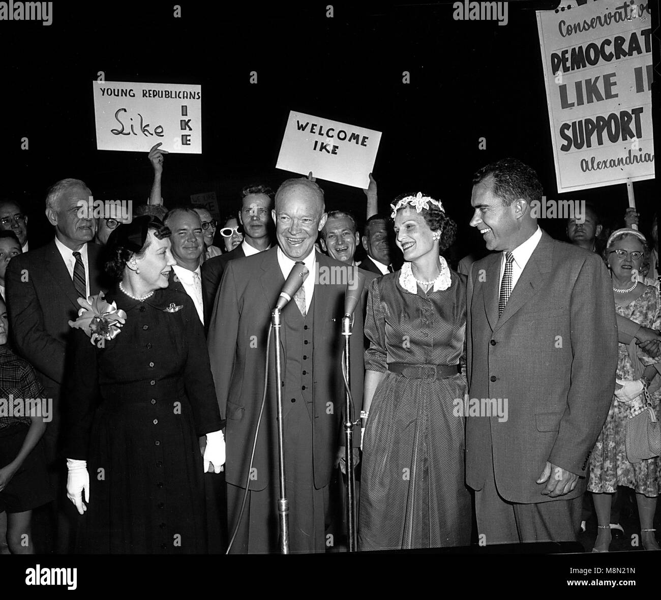 Washington, D.C. - August 28, 1956 -- Eisenhowers and Nixons arrive at Washington National Airport on August 28, - Stock Image