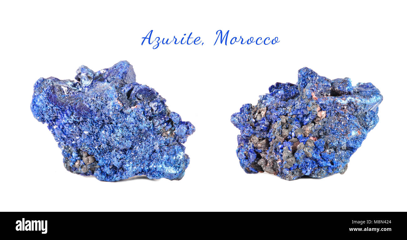 Macro shooting of natural gemstone. Raw mineral azurite, Morocco. Isolated object on a white background. - Stock Image