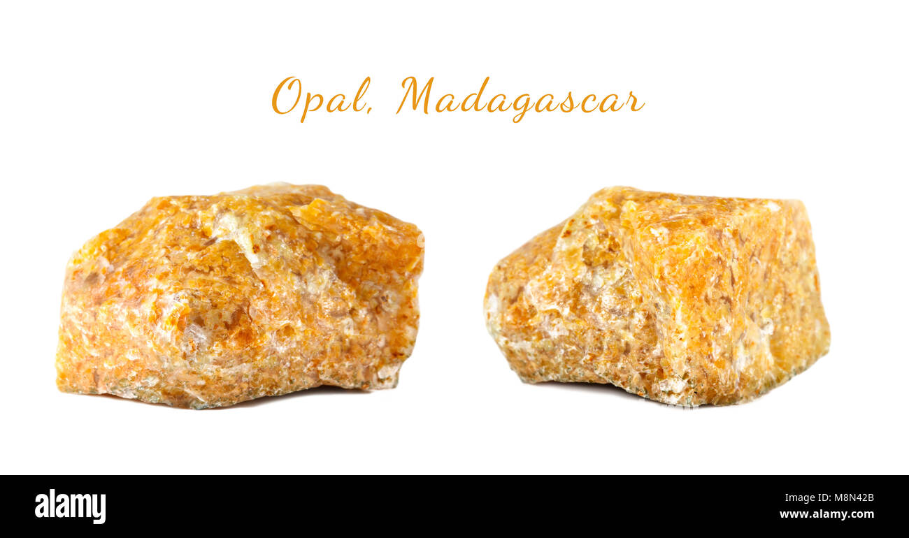 Macro shooting of natural gemstone. The raw mineral is opal, Madagascar. Isolated object on a white background. - Stock Image