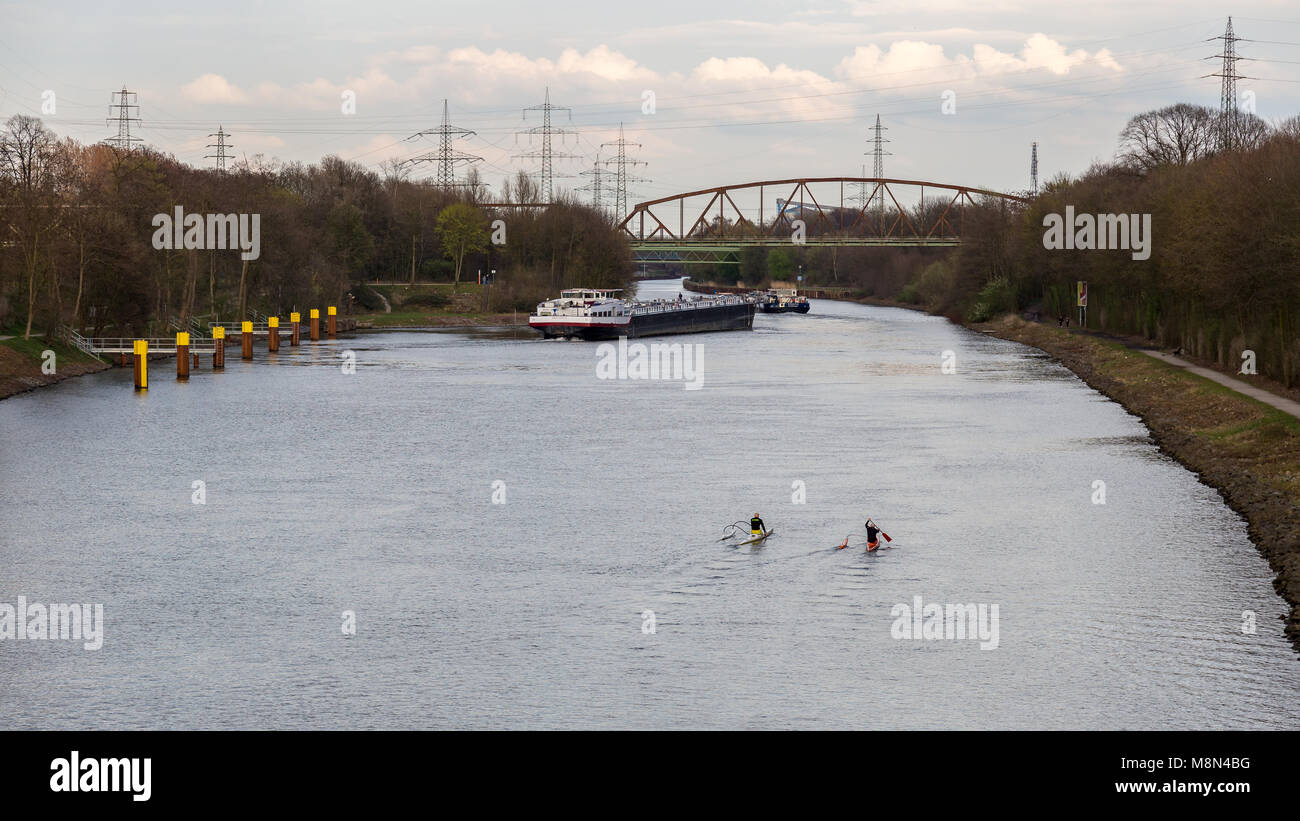 Essen, North Rhine-Westphalia, Germany - April 04, 2016: A ship on the Rhine-Herne-Canal seen from the bridge in - Stock Image