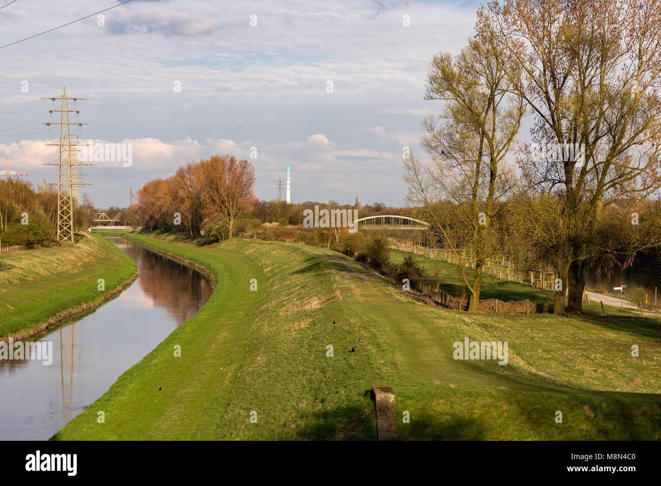 Oberhausen, North Rhine-Westphalia, Germany - April 04, 2016: View over the Brache Vondern with the River Emscher - Stock Image