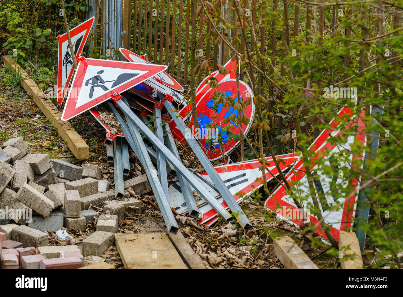 Gelsenkirchen, North Rhine-Westphalia, Germany - April 06, 2017: Unused signs for construction site safety - Stock Image