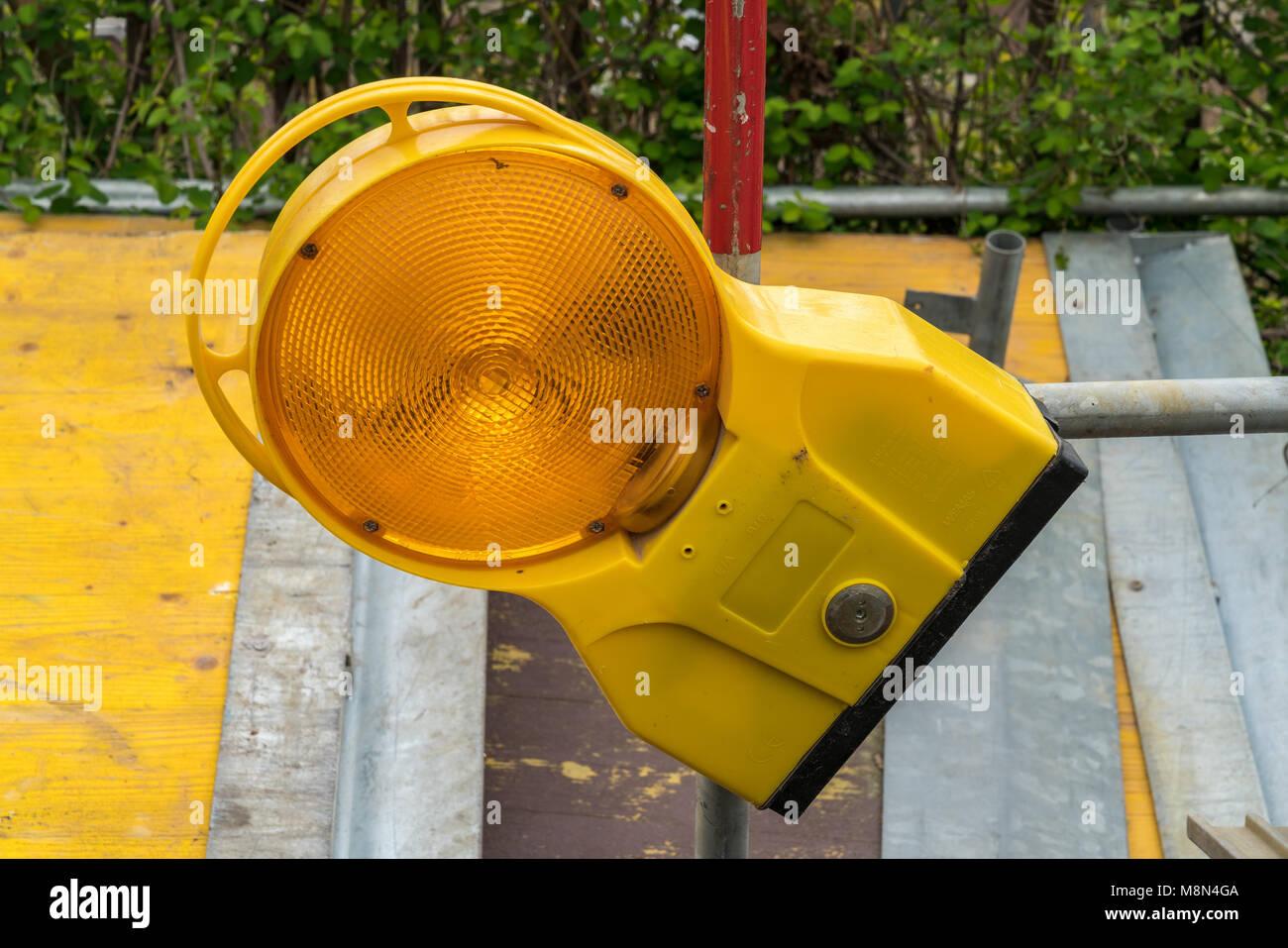 Gelsenkirchen, North Rhine-Westphalia, Germany - April 06, 2017: Warning light for construction site safety - Stock Image