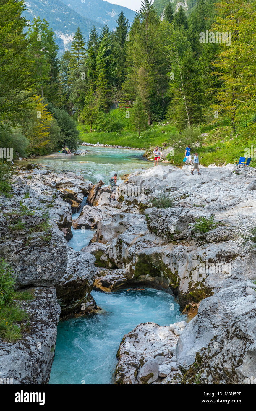 Soča River flowing through a narrow Trenta Valley, Soča, Littoral, Slovenia, Europe - Stock Image