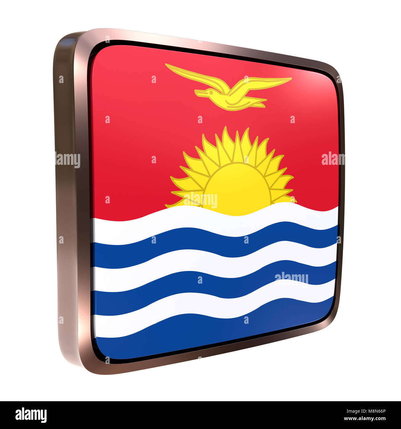 3d rendering of a Kiribati flag icon with a bright frame. Isolated on white background. - Stock Image
