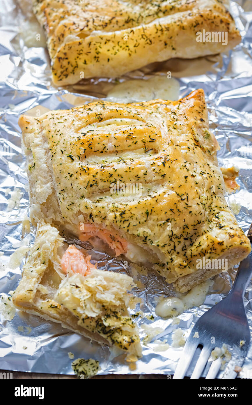 Salmon dill french pastry parcel - Stock Image