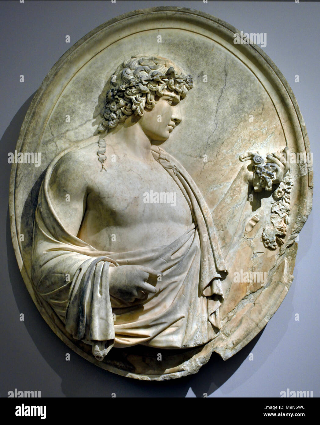 Antinous 18th century  Anonymous (Found in 1735 in the ruins of the villa of Hadrian in Tivoli in Italy )  Italian - Stock Image