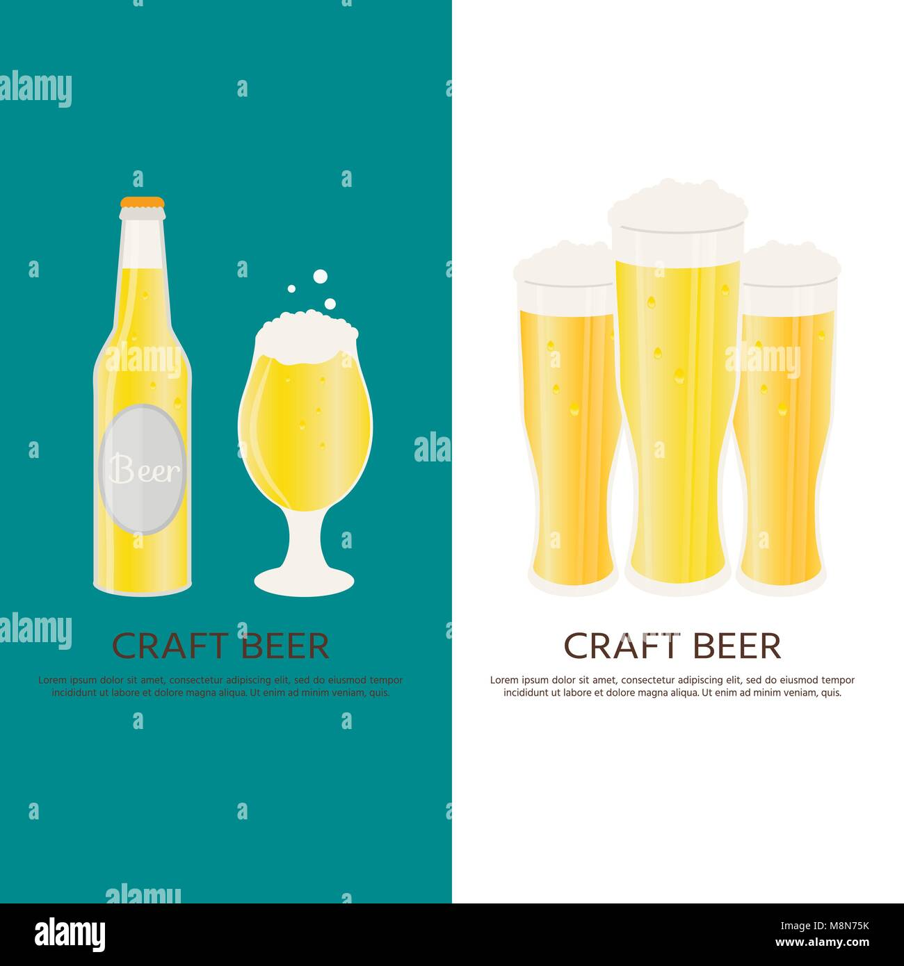 Poster Or Banner With Beer Bottle Mugs Glasses Vector Icon Alcoholic Beverages Wheat Lager Craft Ale