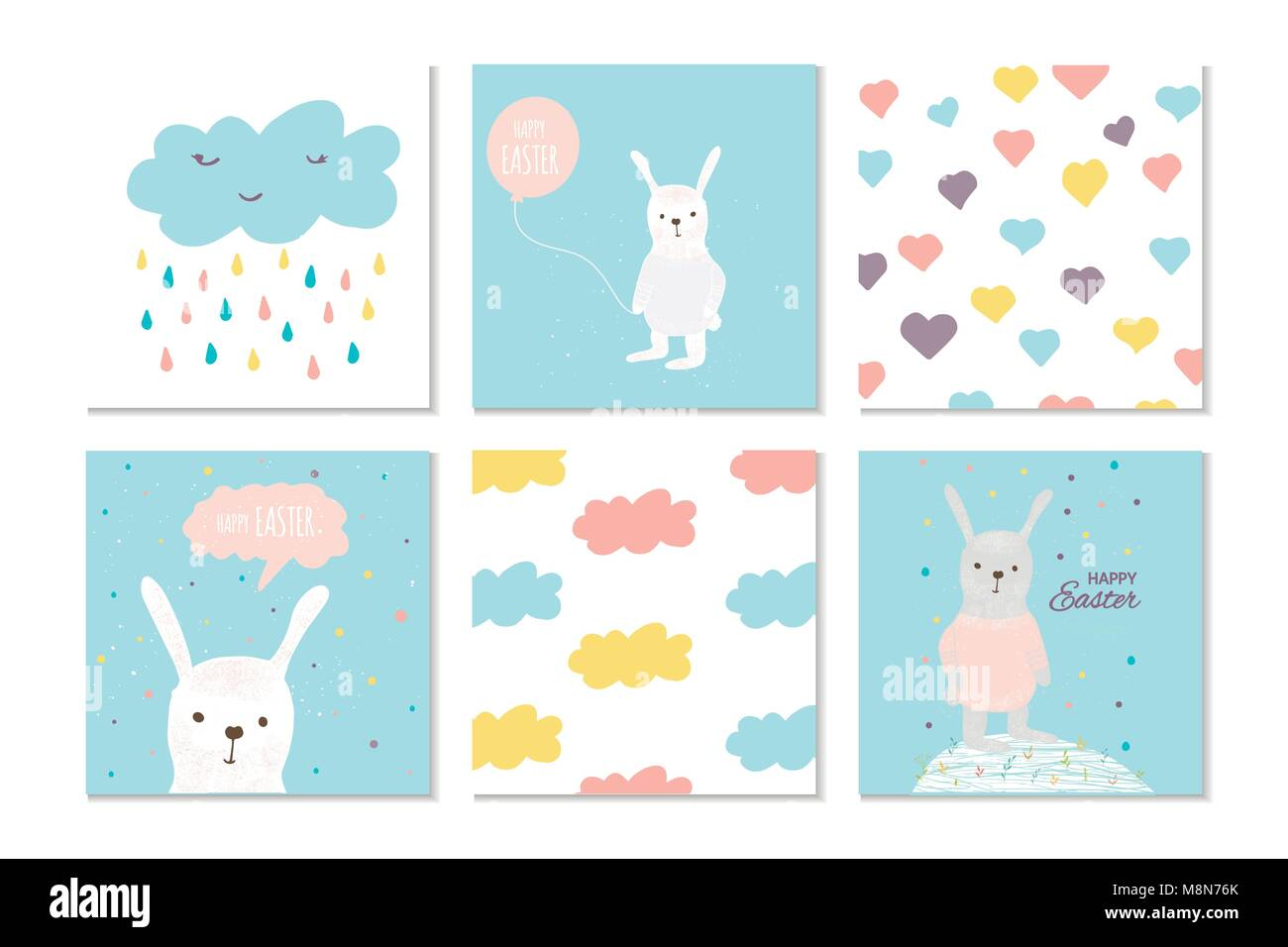 collection of 6 easter card banner background template with stock