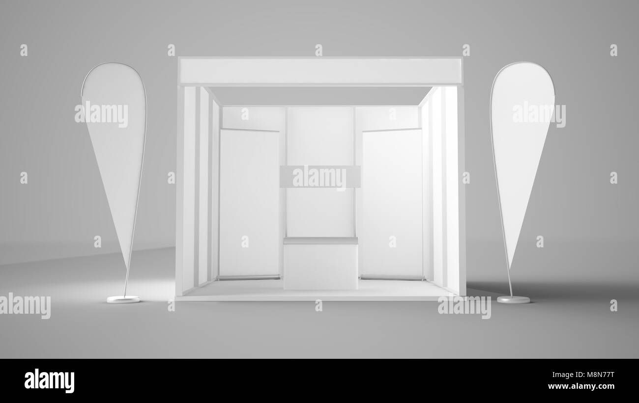 Exhibition Stand Reception : Exhibition stand with reception desk flags and rollers 3d rendering