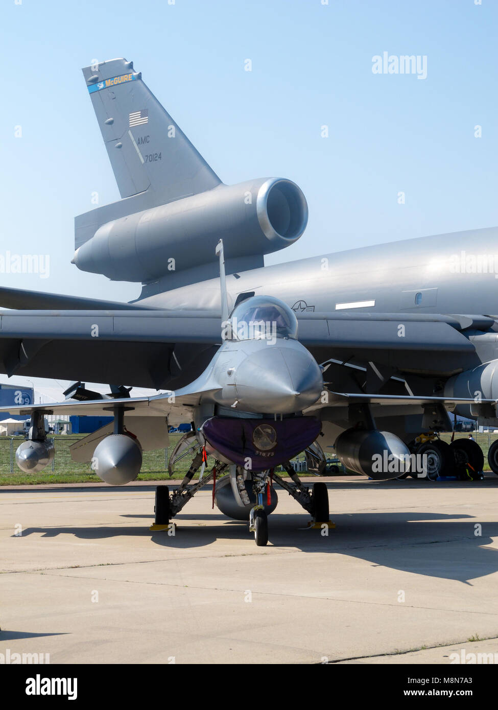 F-16 fighter compared to USAF McGuire kc-10a, International Aviation & Space Salon in Moscow MAKS. ZHUKOWSKY, - Stock Image