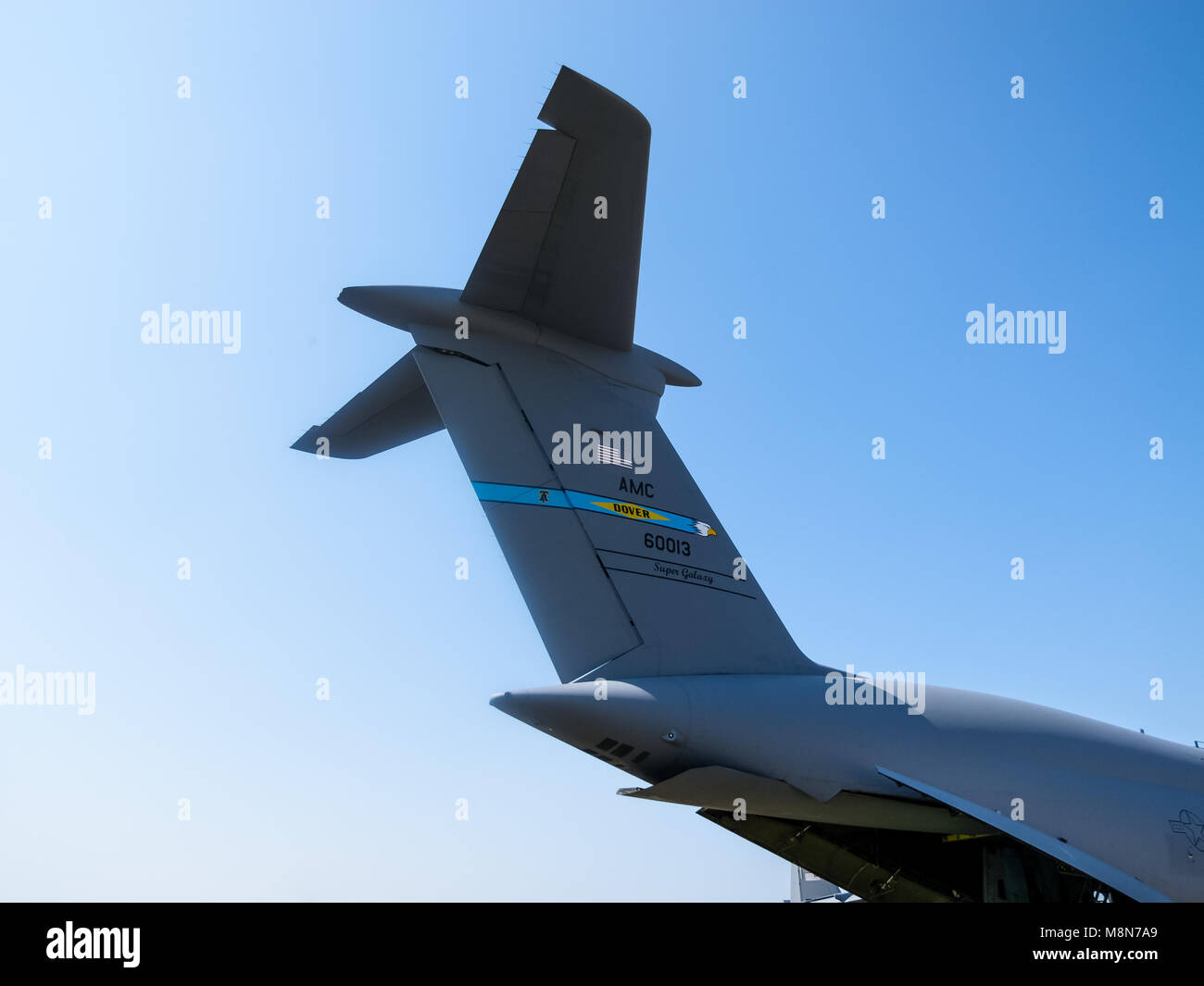 Tail of Lockheed C-5 Galaxy, military cargo strategic aircraft, International Aviation & Space Salon in Moscow. - Stock Image