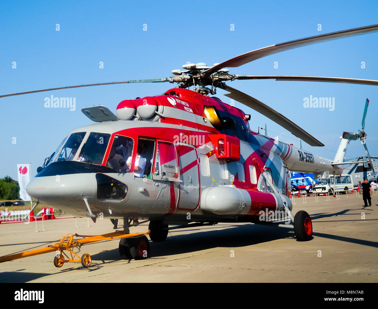 Multifunctional versatile helicopter Mi 8AMT, russian  transport, rescue,cargo  aircraft. ZHUKOWSKY - AUGUST 17 - Stock Image