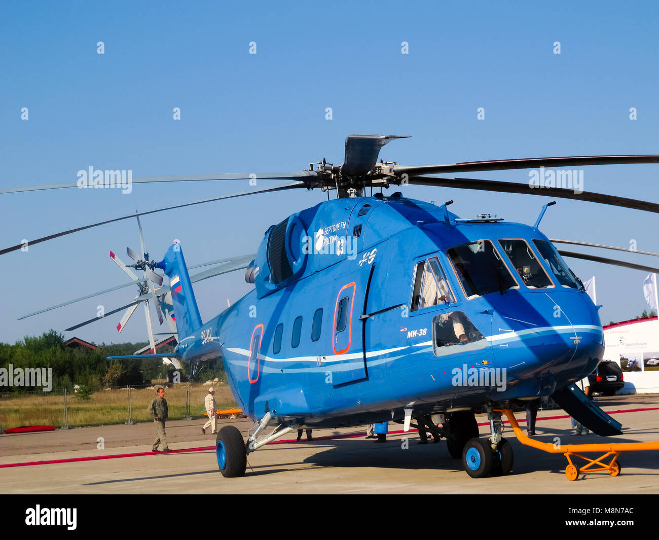 Mi 38 helicopter, Russian  military and civil  transport E1h class aircraft at International Aviation & Space - Stock Image