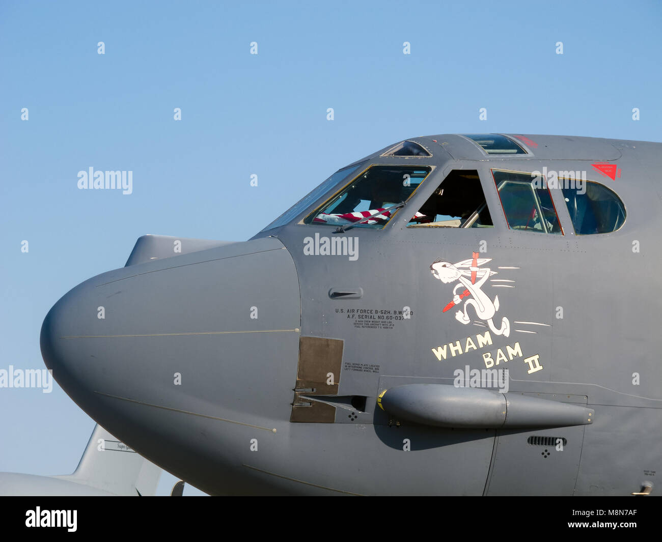 B-52 Stratofortress bomber by Boeing, closeup of strategic bomber jet at International Aviation & Space Salon in Stock Photo