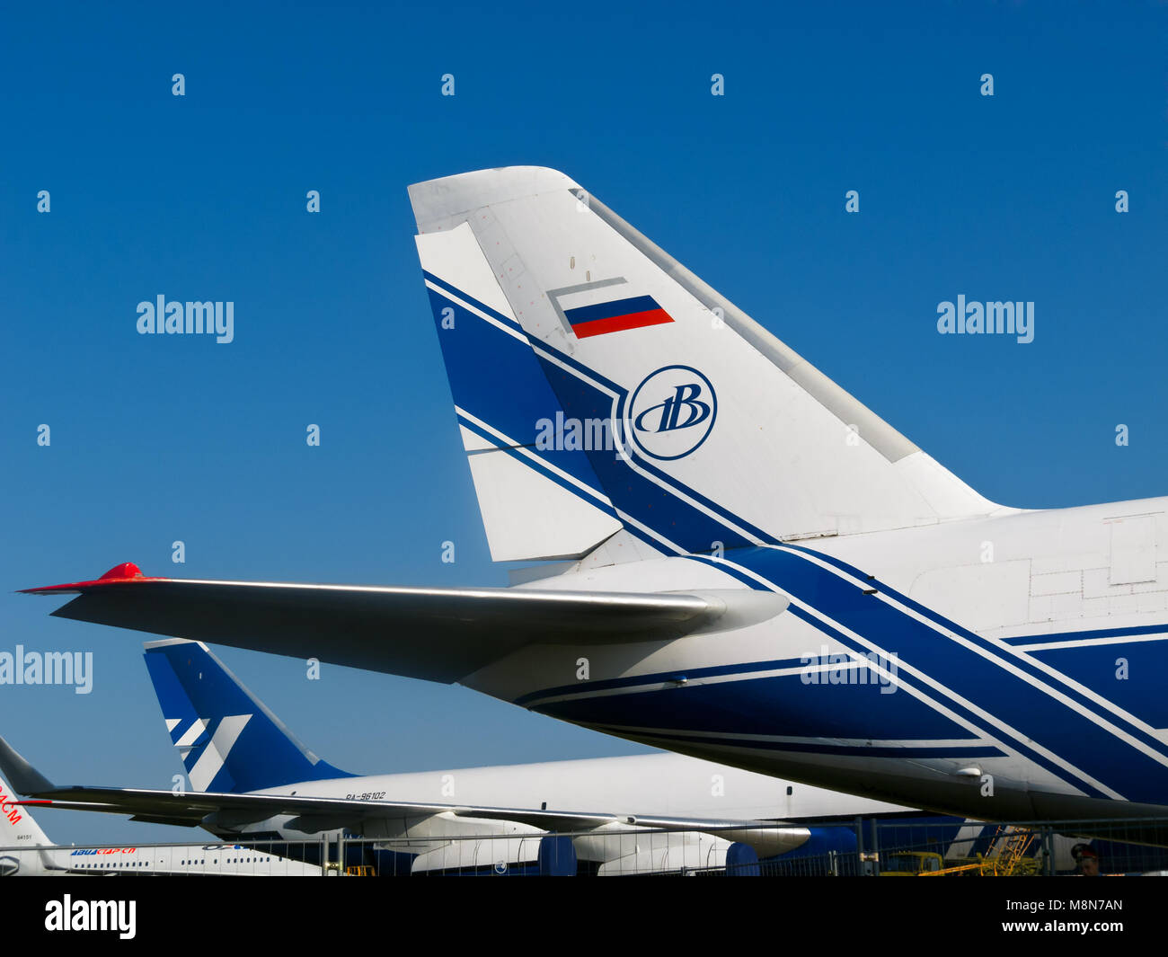 Tail wing of Russian airplane AN-124-100 jet, Antonov Volga-Dnepr at International Aviation Space Salon in Moscow - Stock Image