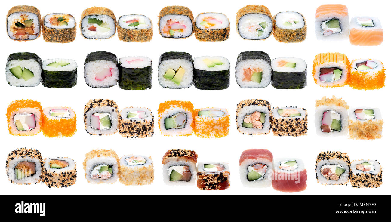 Different kinds of sushi roll isolated on white background. Japanese cuisiune - Stock Image