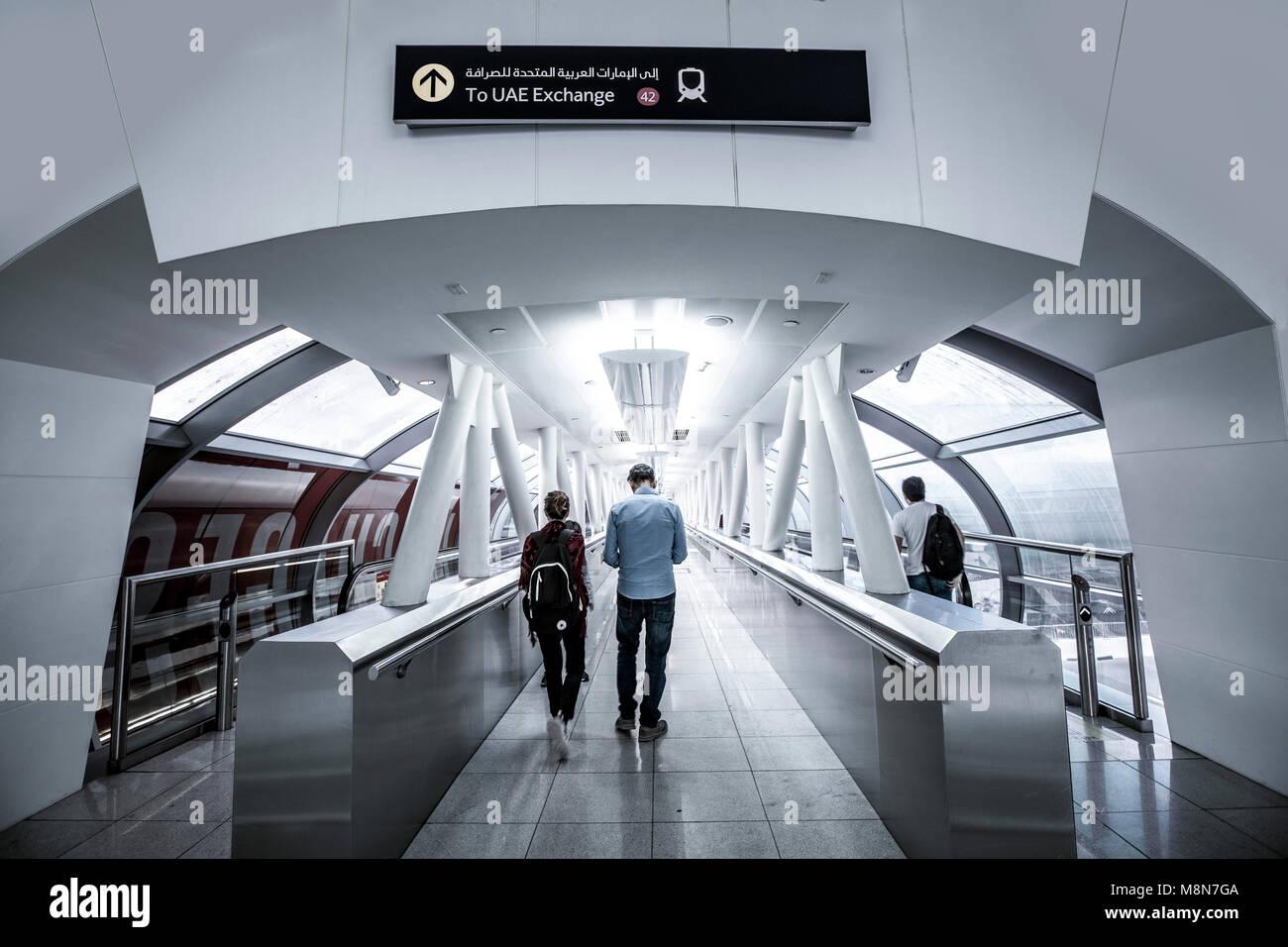 Passengers, metro vestibule, UAE Exchange metro station, The