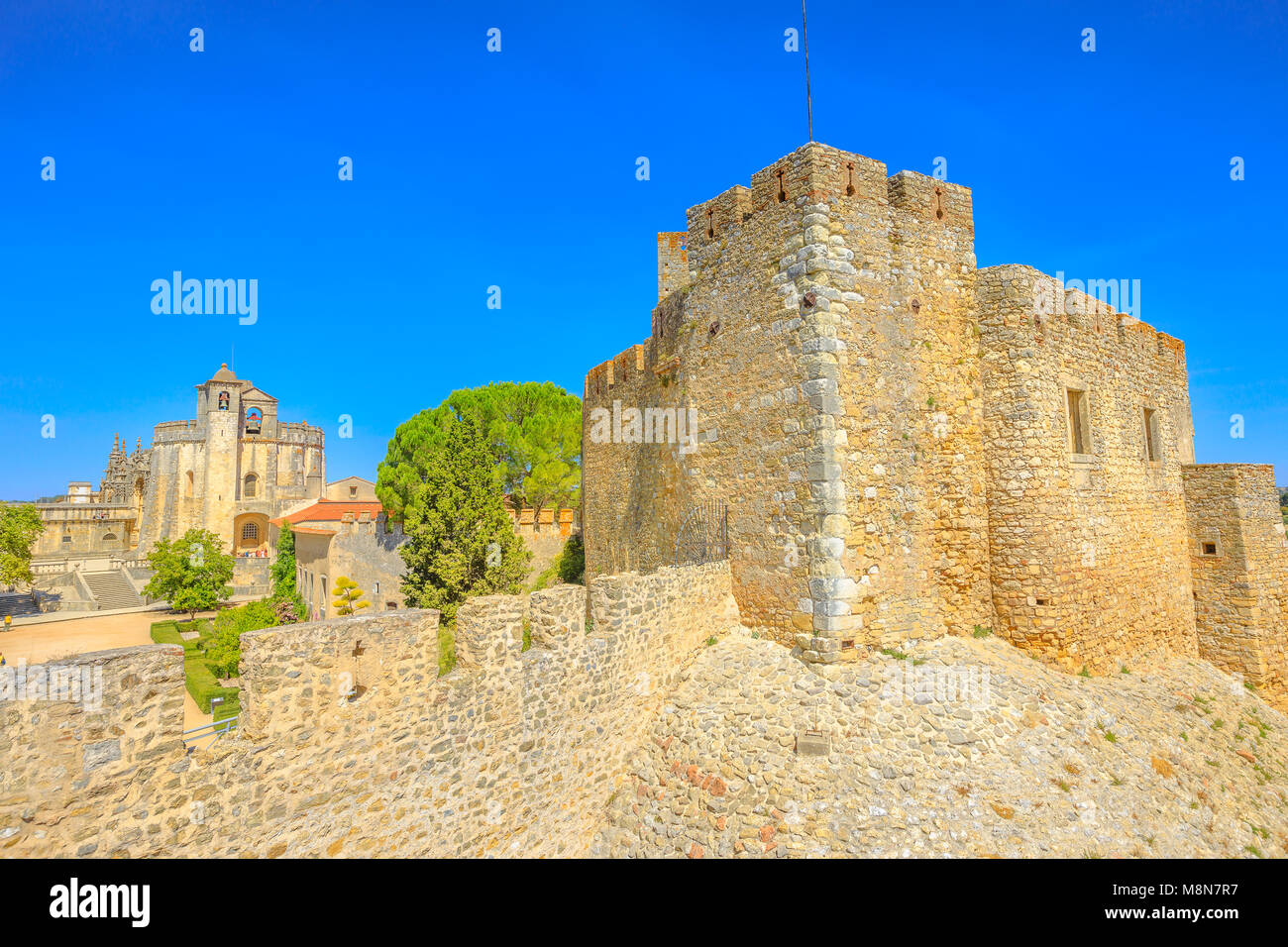 Aerial view of Church of Convent of Christ and ruins of walls in Tomar, Portugal, Unesco Heritage. Tomar convent - Stock Image